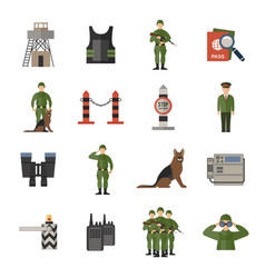 Border guard icons flat vector