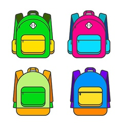 Bright Colorful Backpack Icon Set vector image