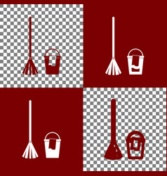 Broom and bucket sign bordo and white vector