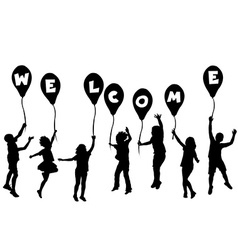 Children silhouettes holding balloons with letters vector image vector image
