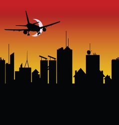 City silhouette with airplane vector