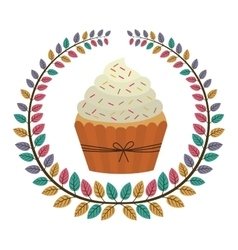 crown of leaves with cupcake with cream and sparks vector image