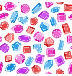 Doodle gems seamless pattern vector image