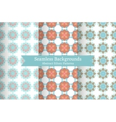 Ethnic oriental geometric seamless patterns vector image