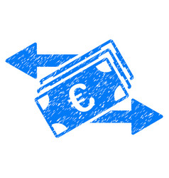 Euro money transfer grunge icon vector
