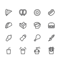 fast food black icon set on white background vector image vector image