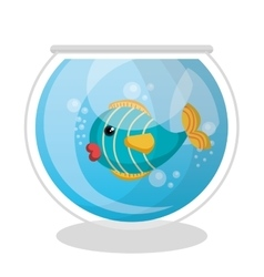 Fish mascot in aquarium vector