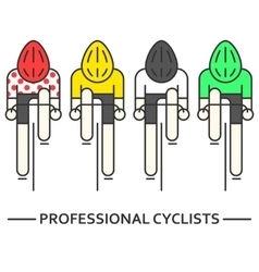 Flat bicyclists in yellow green vector
