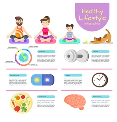 Flat style infographic of yoga man woman and girl vector