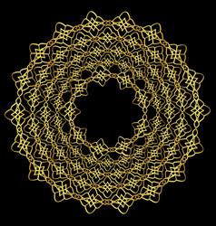 Golden floral mandala on black background vector