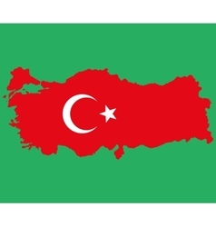 Map of Turkey Turkish flag painted with color vector image
