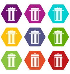 Metal trash can icon set color hexahedron vector