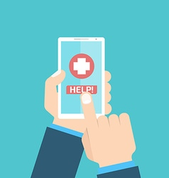 Mobile first help flat style vector image