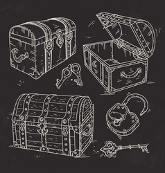 old pirate chests with lock and keys drawn on vector image