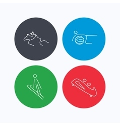 Pilates bobsled and horseback riding icons vector image vector image