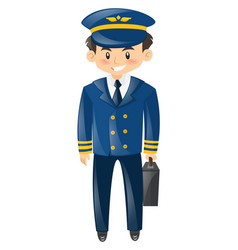 Pilot in blue uniform with breifcase vector