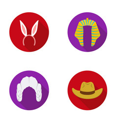 Rabbit ears judge wig cowboy hats set vector