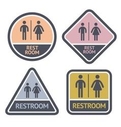 Restroom symbols set flat symbols vector image