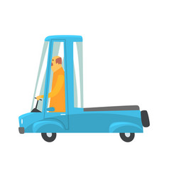 Retro blue cartoon pickup truck vector