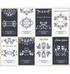 Set flyer design template elegant frame monogram vector