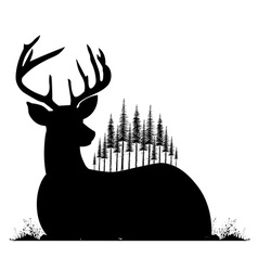 Silhouette of lying deer and fir trees on his back vector