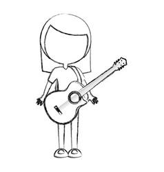 Sketch draw women guitar cartoon vector