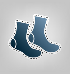 Socks sign blue icon with outline for vector