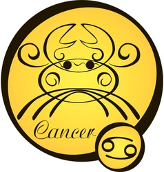 stylized zodiac signs in a yellow circle cancer vector image vector image