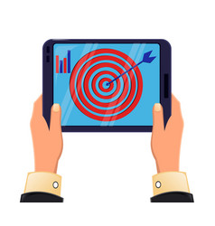 Tablet in mans hands objective reached icon vector