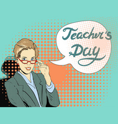 teacher at the blackboard young beautiful female vector image vector image
