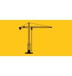 Tower crane site construction isolated silhouette vector