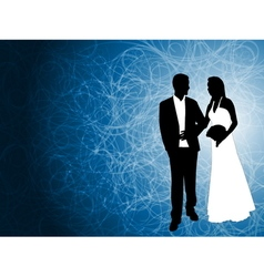 wedding couple blue background vector image