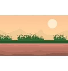 Landscape mountain and grass at morning vector
