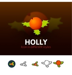 Holly icon in different style vector