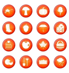 Autumn icons set vector