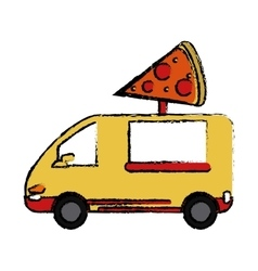 Pizza delivery truck fast food sketch vector