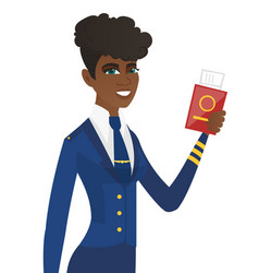 Stewardess showing passport and airplane ticket vector