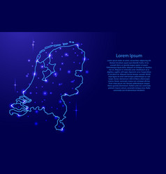 Map netherlands from the contours network blue vector