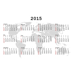 2015 Calendar for agenda with world map vector image