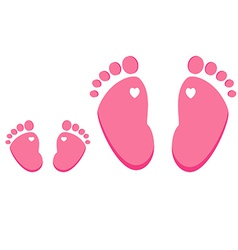 Pink baby and adult footprint vector