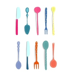Spoons knifes and forks silverware colorful fun vector
