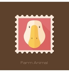Goose flat stamp animal head vector