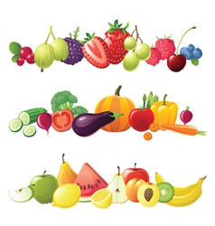 Fruits vegetables and berries borders vector