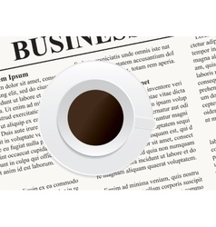 A cup of coffee on the newspaper vector