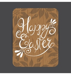 Easter wooden greeting card vector