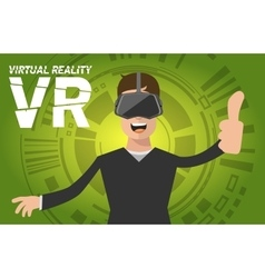 A man with virtual reality headset vector