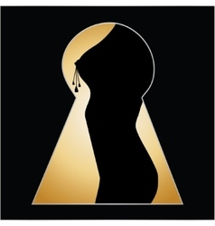Silhouette of a woman body seen through a key hole vector