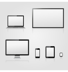 Modern technology devices with blank screen vector