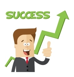 Happy businessman or manager on handicap growing vector