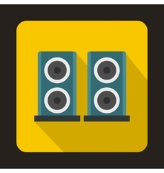 Two audio speakers boxes icon flat style vector